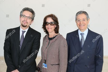 From left, Andrew Perchuck, Deputy Director, Getty Research Institute; Joan Weinstein, Deputy Director The Getty Foundation and Jeffrey Deitch, Director, MOCA pose during a press conference for Pacific Standard Time Presents: Modern Architecture in L.A. launch and press preview for Overdrive: L.A. Constructs the Future, 1940-1990 and In Focus: Ed Ruscha held at the Getty Center on in Los Angeles, California
