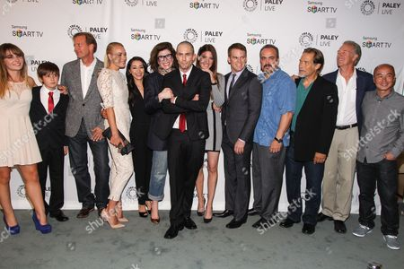 "Stock Photo of From left, actors Christina Robinson, Preston Bailey, executive producer Scott Buck, actors Yvonne Strahovski, Aimee Garcia, executive producer Sara Colleton, actors Desmond Harrington, Jennifer Carpenter, Michael C. Hall, David Zayas, James Remar, Geoff Pierson, and C.S. Lee arrive at the PaleyFest Previews Fall TV Farewell to ""Dexter"" at The Paley Center for Media on in Beverly hills, Calif"