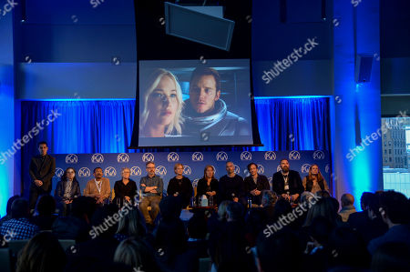 Stock Photo of Dave Karger (left), Donna Gigliotti, Wynn Thomas, Sarah Green, Peter Saraf, Anne Carey, Laura Rosenthal, Iain Canning, Hauschka, Todd Komarnicki, and Allyn Stewart seen at Produced By: New York 2016 at the Time Warner Center on Saturday, October 29th, 2016, in New York City, NY