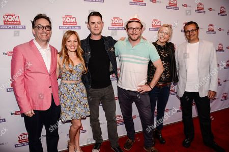 """From left to right, actor Tom Kenny, YouTube star Lisa Schwartz, actor Colin Hanks, actor James Adomian, comedian Maria Bamford, and CEO and Co-Founder of Outfit7 Limited Samo Login attend the premiere screening of the """"Talking Tom and Friends"""" animated series at YouTube Space LA on in Los Angeles. The series debuts today on YouTube. The series debuts today on YouTube"""