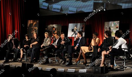 "Stock Picture of FEBRUARY 5: (L-R) Co-Executive Producer & Speical EFX Makeup Greg Nicotero, actors Laurie Holden, David Morrissey, moderator and host of ""Talking Dead"" Chris Hardwick, actors Andrew Lincoln, Danai Gurira, Norman Reedus, Lauren Cohan and Steven Yeun participate in the Academy of Television Arts & Sciences Presents ""An Evening With The Walking Dead"" at the Leonard H. Goldenson Theatre at the Academy of Television Arts & Sciences on in North Hollywood, California"