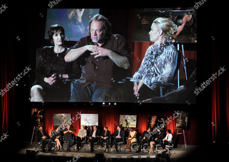 "FEBRUARY 5: (L-R) Creator/Executive Producer Robert Kirkman, Co-Executive Producer & Speical EFX Makeup Greg Nicotero, actors Laurie Holden, David Morrissey, moderator and host of ""Talking Dead"" Chris Hardwick, actors Andrew Lincoln, Danai Gurira, Norman Reedus, Lauren Cohan and Steven Yeun participate in the Academy of Television Arts & Sciences Presents ""An Evening With The Walking Dead"" at the Leonard H. Goldenson Theatre at the Academy of Television Arts & Sciences on in North Hollywood, California"