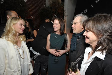 Stock Photo of From left, Naomi Watts, Kathleen Kennedy, Steven Spielberg and Sally Field attend The Hollywood Reporter Nominees' Night at Spago, in Beverly Hills, Calif