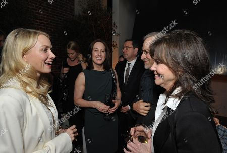 Stock Image of From left, Naomi Watts, Kathleen Kennedy, Steven Spielberg and Sally Field attend The Hollywood Reporter Nominees' Night at Spago, in Beverly Hills, Calif