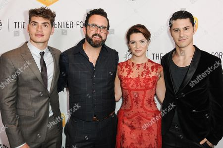 From left, Greg Sulkin, Carter Covington, Katie Stevens, and Michael J. Willett arrive at The Paley Center For Media Los Angeles Benefit Gala, in Los Angeles
