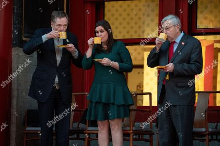 Robert Lighthizer, Sarah Huckabee Sanders, Terry Branstad. From left, United States Trade Representative Robert Lighthizer, White House press secretary Sarah Huckabee Sanders, and U.S. Ambassador to China Terry Branstad, share a drink together before President Donald Trump and Chinese President Xi Jinping arrive for a Chinese opera performance at the Forbidden City, in Beijing, China. Trump is on a five country trip through Asia traveling to Japan, South Korea, China, Vietnam and the Philippines