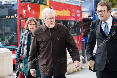 Stock Image of Rolf Harris, former television entertainer, arrives at the Royal Courts of Justice with his niece Jenny Harris.