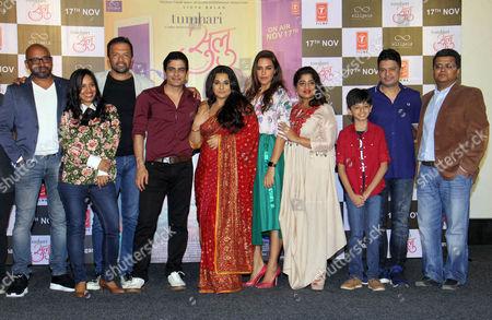 "Suresh Triveni, Shanti Sivaram Maini, Atul Kasbekar, Manav Kaul, Vidya Balan, Neha Dhupia, Mallishka, Bhushan Kumar and Tanuj Garg during the trailer launch of movie ""Tumhari Sulu"" at Cinepolis, Andheri"