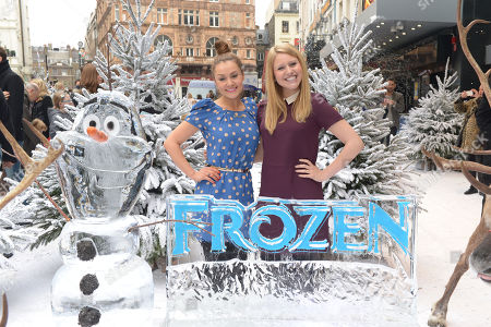 Amy Thomson, Olivia Birchenough attend Disney's 'Frozen' Gala Screening at the Odeon Leicester Square on in London, England