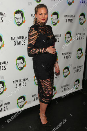"Chrissy Teigen attends the Broadway opening night party of ""Neal Brennan 3 MICS"" at The Lynn Redgrave Theater, in New York"