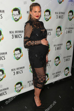 """Chrissy Teigen attends the Broadway opening night party of """"Neal Brennan 3 MICS"""" at The Lynn Redgrave Theater, in New York"""
