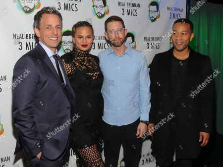 """Seth Meyers, from left, Chrissy Teigen, Neal Brennan and John Legend attend the Broadway opening night party of """"Neal Brennan 3 MICS"""" at The Lynn Redgrave Theater, in New York"""