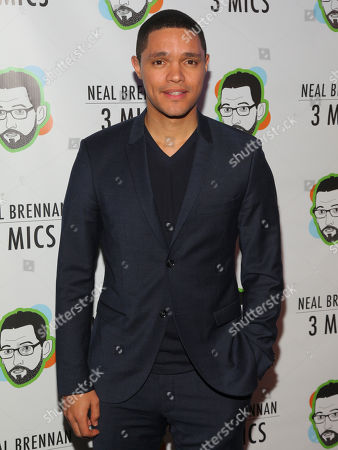 "Stock Photo of Trevor Noah attends the Broadway opening night party of ""Neal Brennan 3 MICS"" at The Lynn Redgrave Theater, in New York"