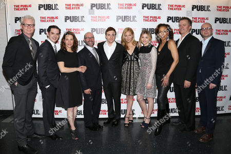 "Stock Photo of The cast and creative team of ""The Library"", from left, Ben Livingston, David L. Townsend, Lili Taylor, playwright Scott Burns, Daryl Sabara, Jennifer Westfeldt, Chloe Grace Moretz, Tamara Tunie, Michael O'Keefe and director Steven Soderbergh attend the opening night party at The Public Theater on in New York"