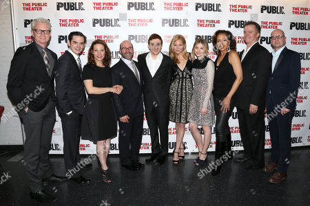 "Stock Image of The cast and creative team of ""The Library"", from left, Ben Livingston, David L. Townsend, Lili Taylor, playwright Scott Burns, Daryl Sabara, Jennifer Westfeldt, Chloe Grace Moretz, Tamara Tunie, Michael O'Keefe and director Steven Soderbergh attend the opening night party at The Public Theater on in New York"