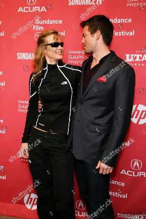 """Actress Lori Singer, left, and actor John Palladino pose at the premiere of """"Experimenter"""" during the 2015 Sundance Film Festival, in Park City, Utah"""