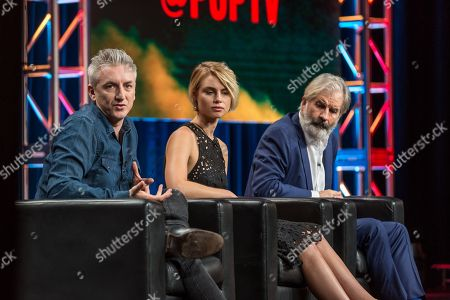 """Greg McLean, from left, Lucy Fry, and John Jarratt participate in the """"Wolf Creek"""" panel during the POP TV Television Critics Association summer press tour, in Beverly Hills, Calif"""