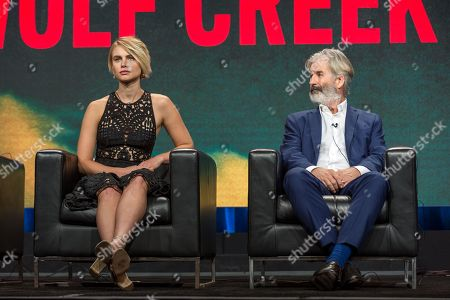 """Lucy Fry, left, and John Jarratt participate in the """"Wolf Creek"""" panel during the POP TV Television Critics Association summer press tour, in Beverly Hills, Calif"""
