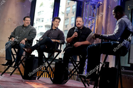 """Andy Fickman, from left, David Henrie and Kevin James participate in AOL's BUILD Speaker Series to discuss the film """"Paul Blart: Mall Cop 2"""" at AOL Studios, in New York"""