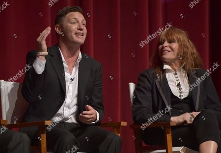 """Lane Garrison, left, and Marilyn Vance participate in a panel following the """"Bonnie & Clyde"""" FYC screener event at the Leonard H. Goldenson Theatre, in Los Angeles"""