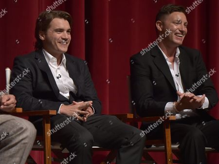 """Emile Hirsch, left, and Lane Garrison participate in a panel following the """"Bonnie & Clyde"""" FYC screener event at the Leonard H. Goldenson Theatre, in Los Angeles"""