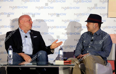 """Television Academy Governor Seth Shapiro, left, hosts a conversation with show runner and producer Bernie Su during """"From Lizzie Bennet to Emma: Taking an Emmy Award Winner to the Next Level,"""" on in Las Vegas"""