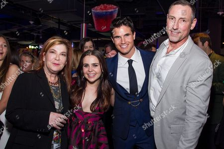 """Terry Press, from left, Mae Whitman, Robbie Amell and Mark Ross arrive at the Los Angeles Fan Screening of """"THE DUFF"""", in Los Angeles"""