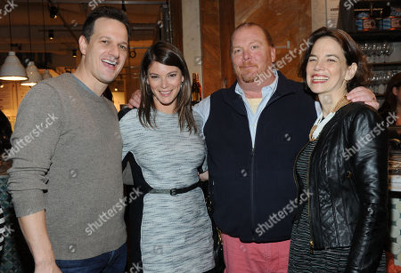 Actor Josh Charles, left, FOOD & WINE's Gail Simmons and editor in chief Dana Cowin, right, celebrate Mario Batali, second right, who guest-edited the April issue of FOOD & WINE, during a party at Eataly in New York