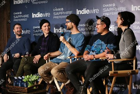 """Daniel Radcliffe, Paul Dano, Daniel Scheinert, Dan Kwan and Mary Elizabeth Winstead from """"Swiss Army Man"""" talk during the """"Indiewire in Conversation"""" panel at Chase Sapphire on Main, on in Park City, Utah"""