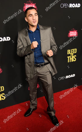"""Ronny Rios poses at the premiere of the film """"Bleed for This"""" at the Samuel Goldwyn Theater, in Beverly Hills, Calif"""