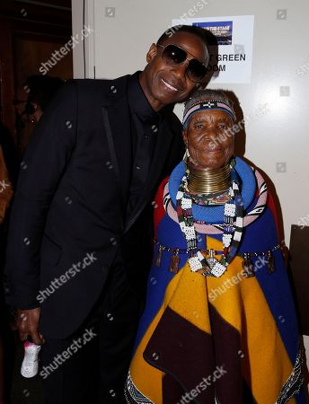 Stock Picture of Doug E. Fresh and South African artist and (Belvedere) RED collaborator Esther Mahlangu seen as Major Contributor Moet Hennessy Celebrates the Unveiling of the National Museum of African American History & Culture (NMAAHC) on backstage at The Kennedy Center in Washington D.C