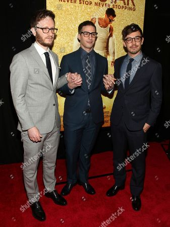 "Akiva Schaffer, from left, Andy Samberg and Jorma Taccone attend the premiere of ""Popstar: Never Stop Never Stopping"" at AMC Loews Lincoln Square, in New York"