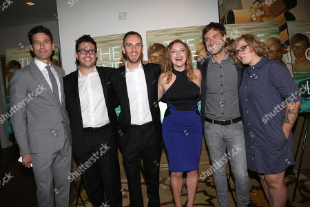 """From left, RADiUS-TWC Co-President Jason Janego, actor Justin Lader, director Charlie McDowell, actress Elisabeth Moss, actor Mark Duplass, and producer Mel Eslyn attend a special screening of """"The One I Love"""" at the Crosby Street Hotel on in New York"""