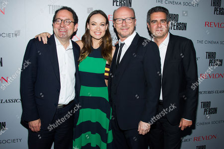 """Stock Picture of Michael Barker, left, Olivia Wilde, Paul Haggis and Michael Nozik attend a screening of """"Third Person"""" hosted by the Cinema Society and Revlon on in New York"""