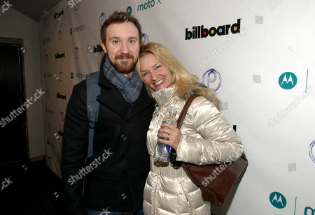 Stock Image of Sam Huntington, left, and Reagan Pasternak are seen at PCL Day Lounge Day 3 on in Park City, Utah