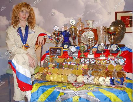 Svetlana Kapanina with some of her trophies