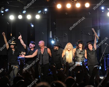 Stock Image of Robert Sarzo, Randy Gane,Geoff Tate,Kelly Gray,Sass Jordan, Rudy Sarzo and Simon Wright of Queensryche perform at The Culture Room on in Fort Lauderdale, Florida