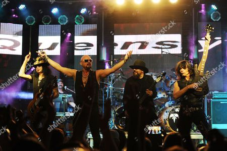 Robert Sarzo,Geoff Tate,Kelly Gray and Rudy Sarzo of Queensryche perform at The Culture Room on in Fort Lauderdale, Florida