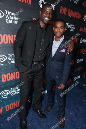 Kwame Patterson and Octavius J. Johnson pictured at SHOWTIME and Time Warner Cable's Ray Donovan Season 2 premiere on Wednesday, July 9 at Nobu in Malibu, Calif