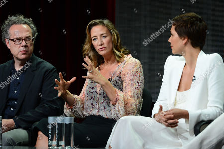 """Greg Brenman, Executive Producer, Janet McTeer and Maggie Gyllenhaal at SundanceTV TCA Panel for """"The Normal Heart"""" at the Beverly Hilton on in Beverly Hills"""