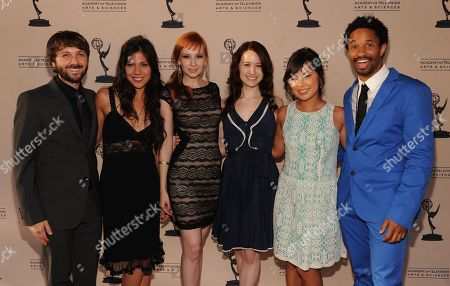 """From left, cast members of """"The Lizzie Bennet Diaries,"""" Maxwell Glick, Jessica Andres, Mary Kate Wiles, Ashley Clements, Julia Cho and Craig Frank attend the Academy of Television Arts & Sciences Interactive Media Peer Groups Celebration for the Interactive Media Nominees,, at the Leonard H. Goldenson Theatre in North Hollywood, Calif"""