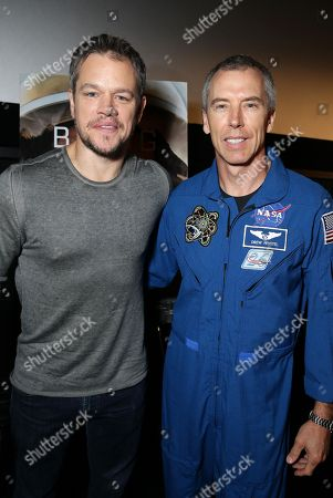 Astronaut Drew Feustel and Matt Damon at the Twentieth Century Fox 'The Martian' Trailer Launch Event at United Artists La Canada Theater, in Pasadena, CA