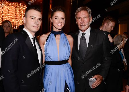 "From left to right, director Robert Luketic, actress Amber Heard, and actor Harrison Ford attend the after party of the US premiere of ""Paranoia"" at the DGA Theatre on in Los Angeles"