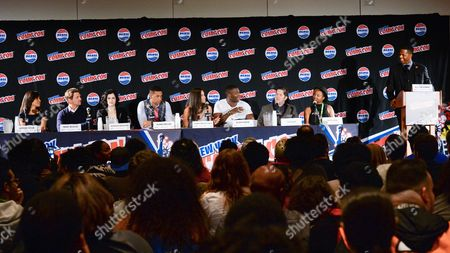 "From left, Amirah Vann, Marc Blucas, Jessica DeGouw, Alano Miller, Jurnee Smollett-Bell, Aldis Hodge, Joe Pokaski, Misha Green, and AJ Calloway are seen at a panel for WGN America's ""Underground"" New York Comic Con, on in New York"