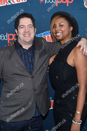 "Joe Pokaski, left, and Misha Green are seen at WGN America's ""Underground"" New York Comic Con, on in New York"