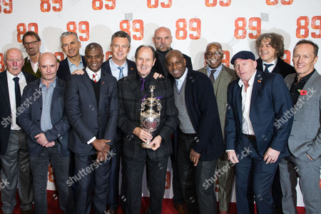 Dave Stewart, Nick Hornby, Tony Adams, Alan Smith, Paul Davis, David O'Leary, George Graham, Steve Bould, Michael Thomas, Ian Wright, Perry Groves, Alan Davies and Lee Dixon