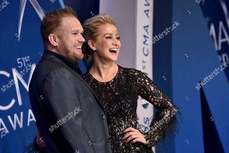 Stock Photo of Kellie Pickler, Kyle Jacobs. Kellie Pickler, right, and Kyle Jacobs arrive at the 51st annual CMA Awards, in Nashville, Tenn