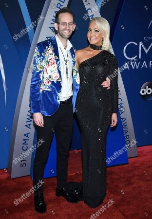 Meghan Linsey, Tyler Cain. Tyler Cain, left, and Meghan Linsey arrive at the 51st annual CMA Awards, in Nashville, Tenn