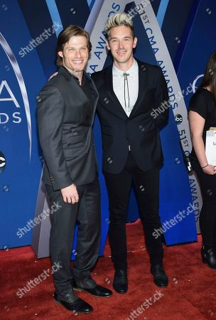 Chris Carmack, Sam Palladio. Chris Carmack, left, and Sam Palladio arrive at the 51st annual CMA Awards, in Nashville, Tenn