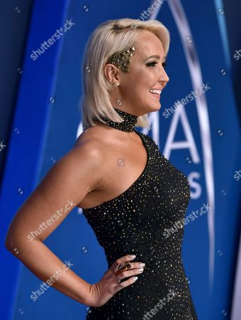 Meghan Linsey arrives at the 51st annual CMA Awards, in Nashville, Tenn